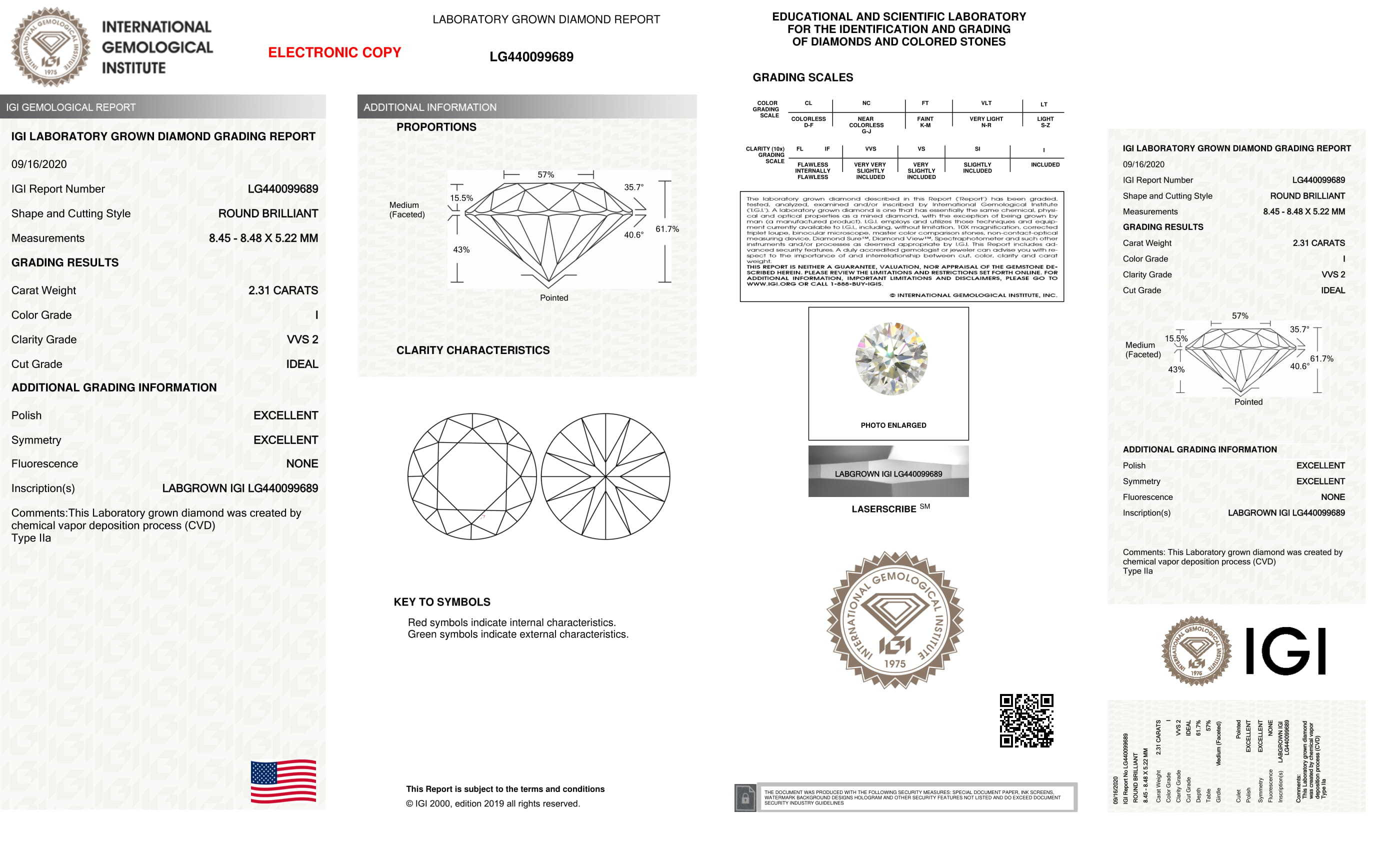 Round Brilliant Cut Lab Grown 2.31ct I VVS2 IGI Certified Diamond 440099689