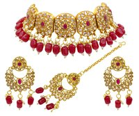 Traditional Kundan Design Red Beads Kundan Patti Choker