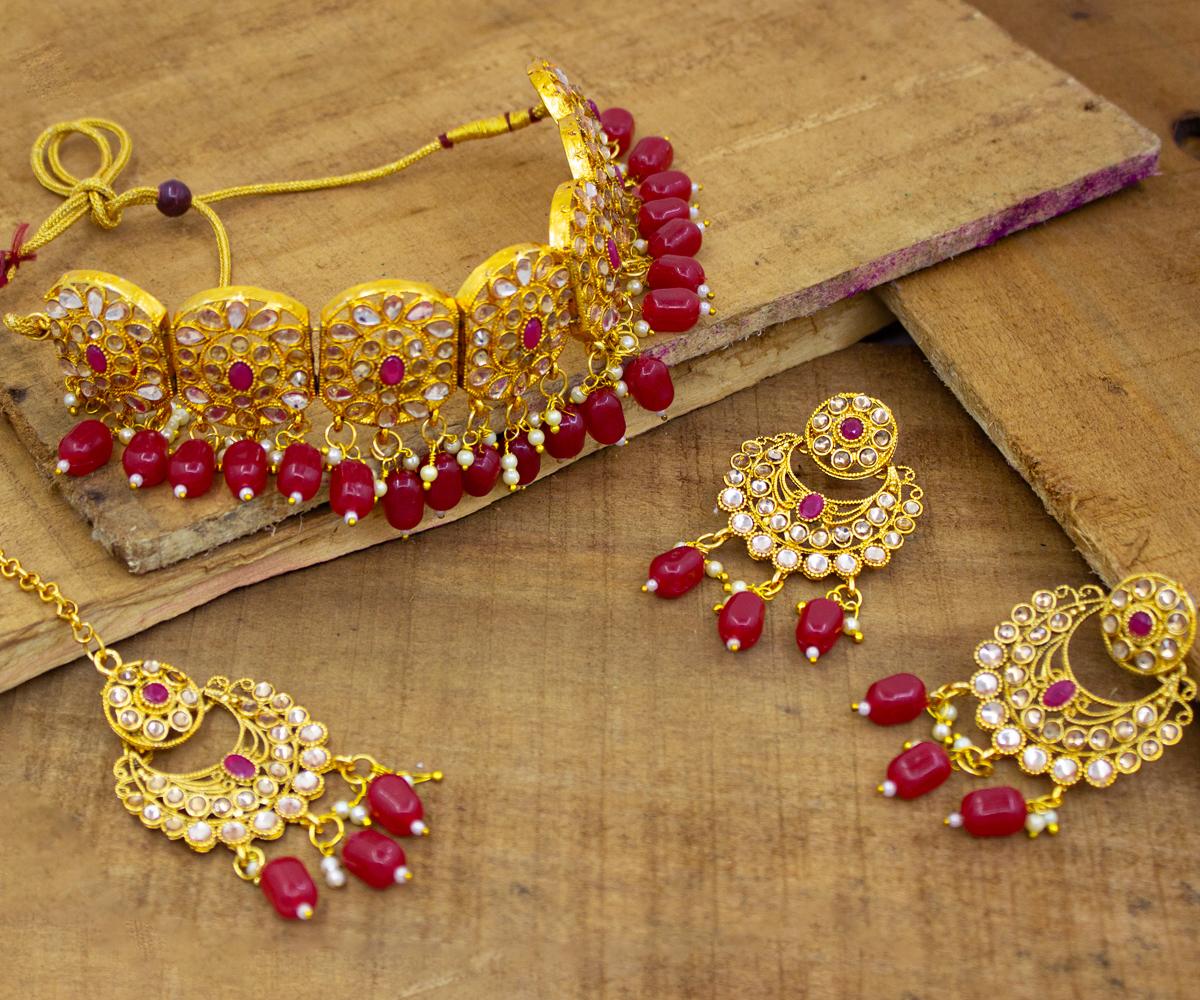 Traditional Kundan Design Red Beads Kundan Patti Choker