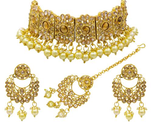 Gold Beaded Kundan Patti Choker Necklace Set