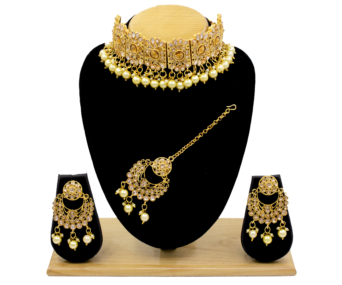 Gold Beaded Kundan Patti Choker Necklace Set