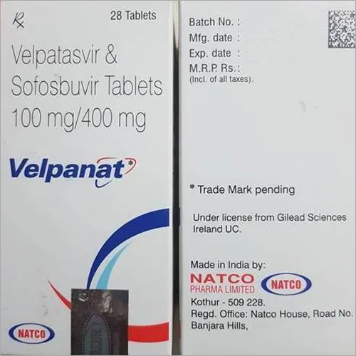100 mg Velpatasvir and Sofosbuvir Tablets