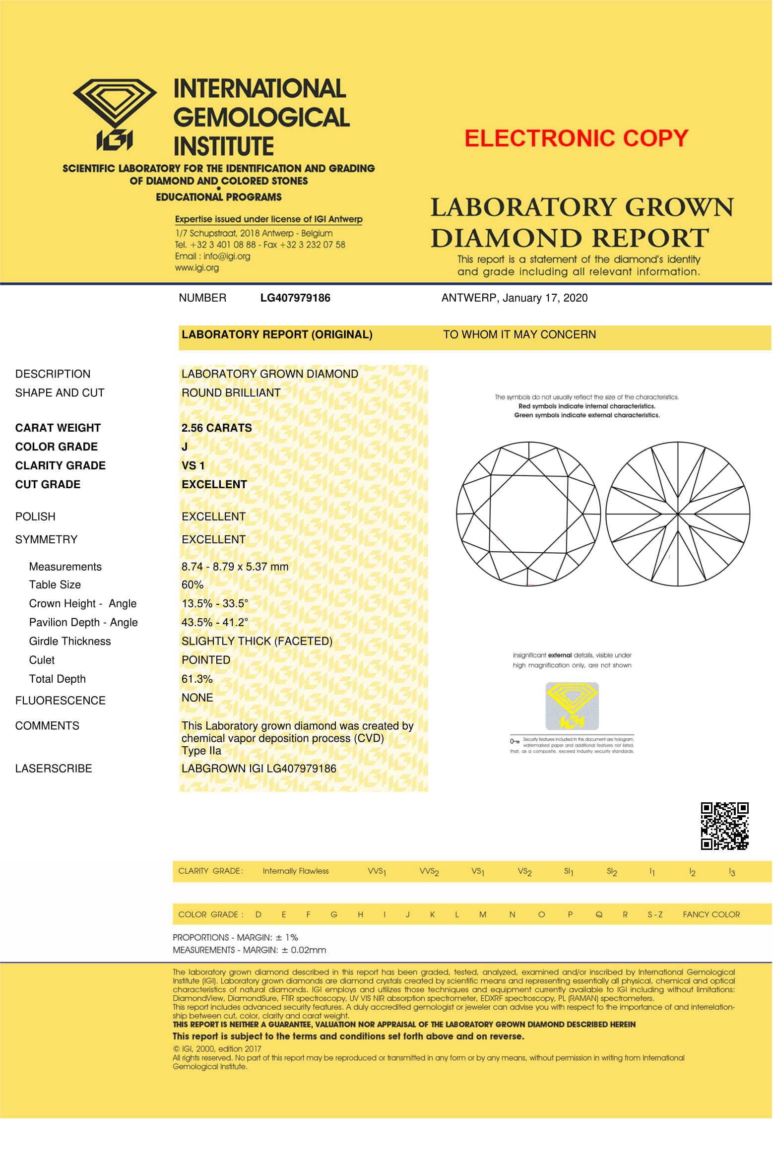 Round Brilliant Cut Lab Grown 2.56ct J VS1 IGI Certified Diamond 407979186