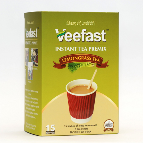 Lemon Grass Tea with 15 sachets of tea premix and 15 stirrers to mix
