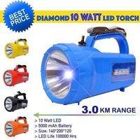 Diamond 10 Watt LED Waterproof Rechargeable Torch