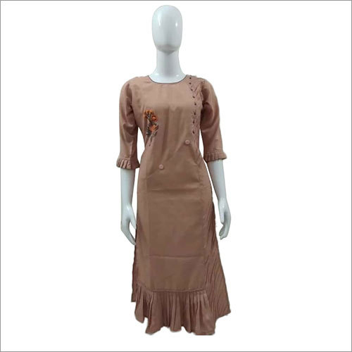 Ladies Round Neck Cotton Kurtis