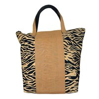 12 Oz Dyed Canvas Tote Bag With Zebra Print & Centre Jute Trimmed