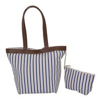 12 Oz Natural Canvas Tote Bag With Pu Pocket , Pu Trimmed Top & Pu Handle