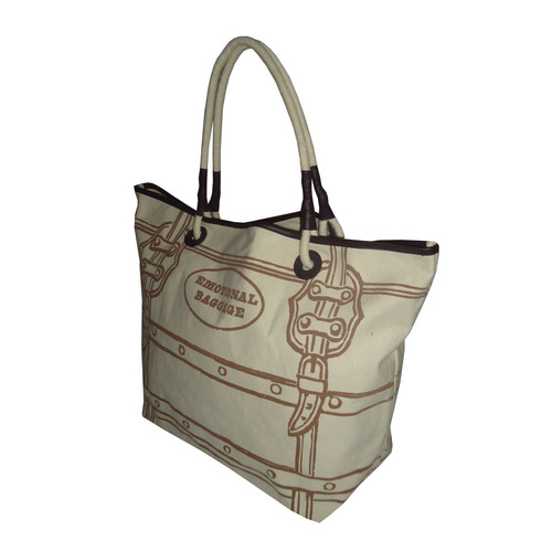 12 Oz Canvas Printed Tote Bag With Pu Trimmed Handle