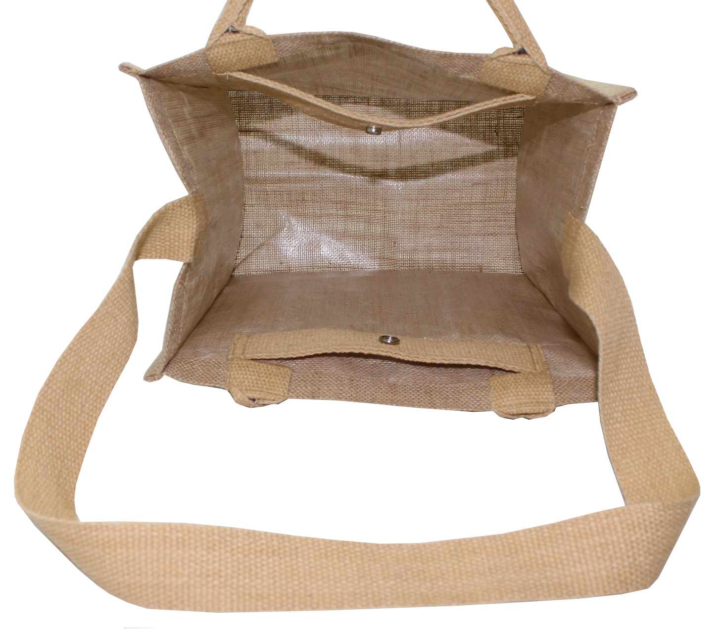 Pp Laminated Jute Shopping Bag With Padded Rope Handle & Shoulder Length Handle