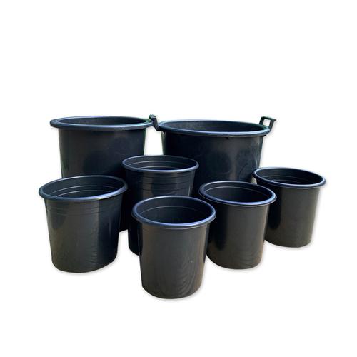 Plastic Outdoor Garden Planters Black Injected Heavy Duty Flower Pots