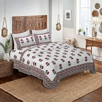 Pure Cotton Printed Jaipuri Double Bedsheet (90 X108 Inch)
