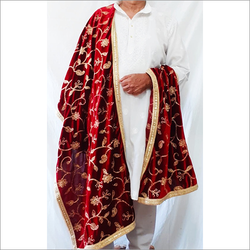Mens Velvet Chain Stich Embroidery Jaal Shawl