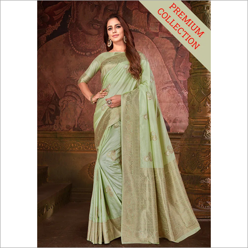 Ladies Designer Light Green Nylon Saree