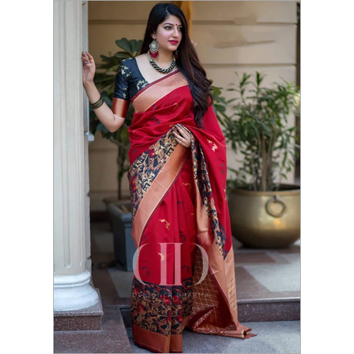 Ladies Red and Black Designer Soft Banarasi Silk Saree