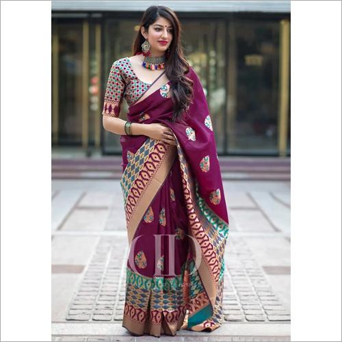Ladies Purple Designer Soft Banarasi Silk Saree