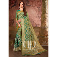 Ladies Green Woven Silk Bandhej Saree
