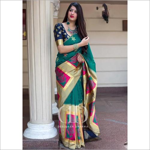 Ladies Rama Designer Soft Banarasi Silk Saree