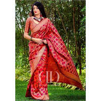 Ladies Red Designer Soft Banarasi Silk Saree