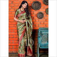 Ladies Gold Designer Soft Blend Banarasi Silk Saree With Rich Pallu