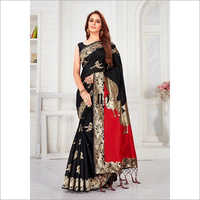 Ladies Black Designer Soft Banarasi Silk Saree With Pallu