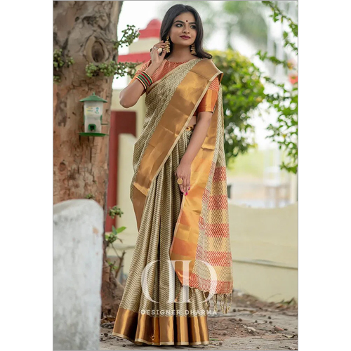 Ladies Brown Designer Soft Woven Silk Saree