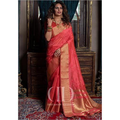 Ladies Pink Soft Mysore Silk Embroidered Saree