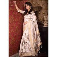Ladies Brown Soft Mulberry Silk Weaving Saree