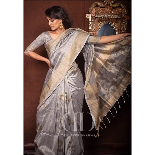 Ladies Grey Soft Mulberry Silk Weaving Saree