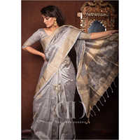 Ladies Grey Soft Mulberry Silk Weaving Saree