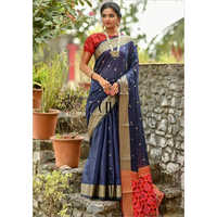 Ladies Navy Blue Handloom Cotton Weaving Saree