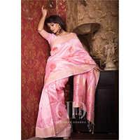 Ladies Designer Pink Soft Mulberry Silk Weaving Saree