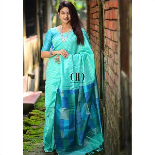 Ladies Linen Silk Weaving Saree With Silver Strips And Silver Zari Border