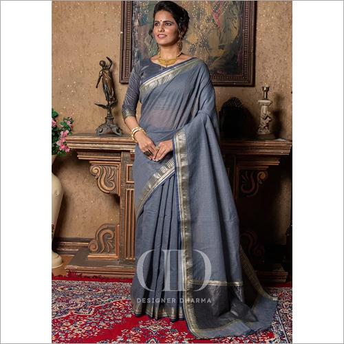 Ladies Rangsutra Grey Designer Soft Linen Silk Saree