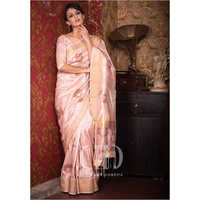Ladies Designer Light Pink Soft Mulberry Silk Weaving Saree