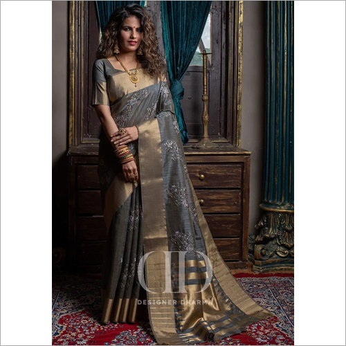 Ladies Grey Designer Soft Mysore Silk Embroidered Saree