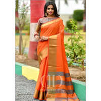 Ladies Orange Designer Soft Woven Silk Saree
