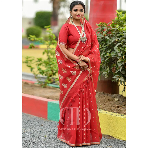 Ladies Red Designer Soft Linen Silk Saree