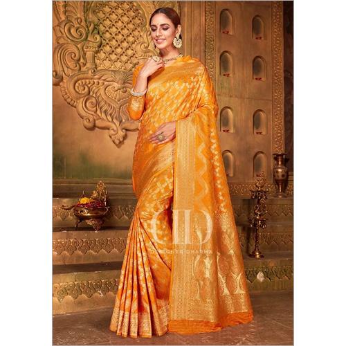 Ladies Orange Blend Woven Silk Designer Bandhej Saree