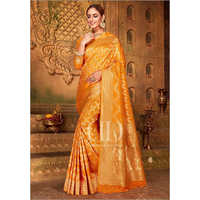 Ladies Orange Blend Woven Silk Designer Bandhej Saree