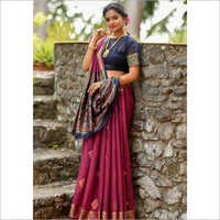 Ladies Purple Designer Handloom Cotton Weaving Saree