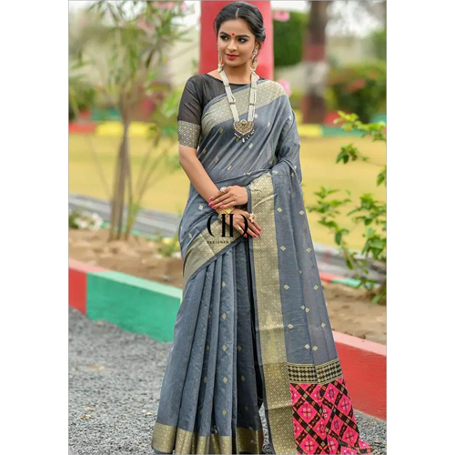 Ladies Grey Designer Handloom Cotton Weaving Saree