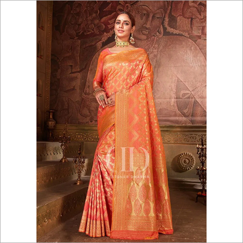 Ladies Pink Blend Woven Silk Designer Bandhej Saree
