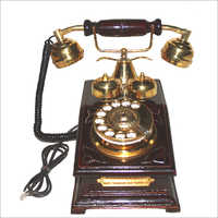 Vintage Wooden And Brass Telephone