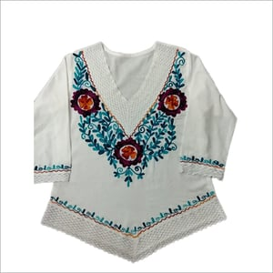 Ladies V Neck Embroidered Top