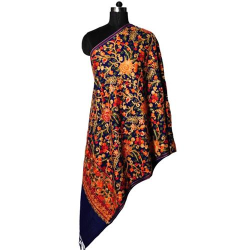 Wool Embroidery Multi Zaal Stole