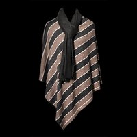 Wool Nylon Stripe Poncho