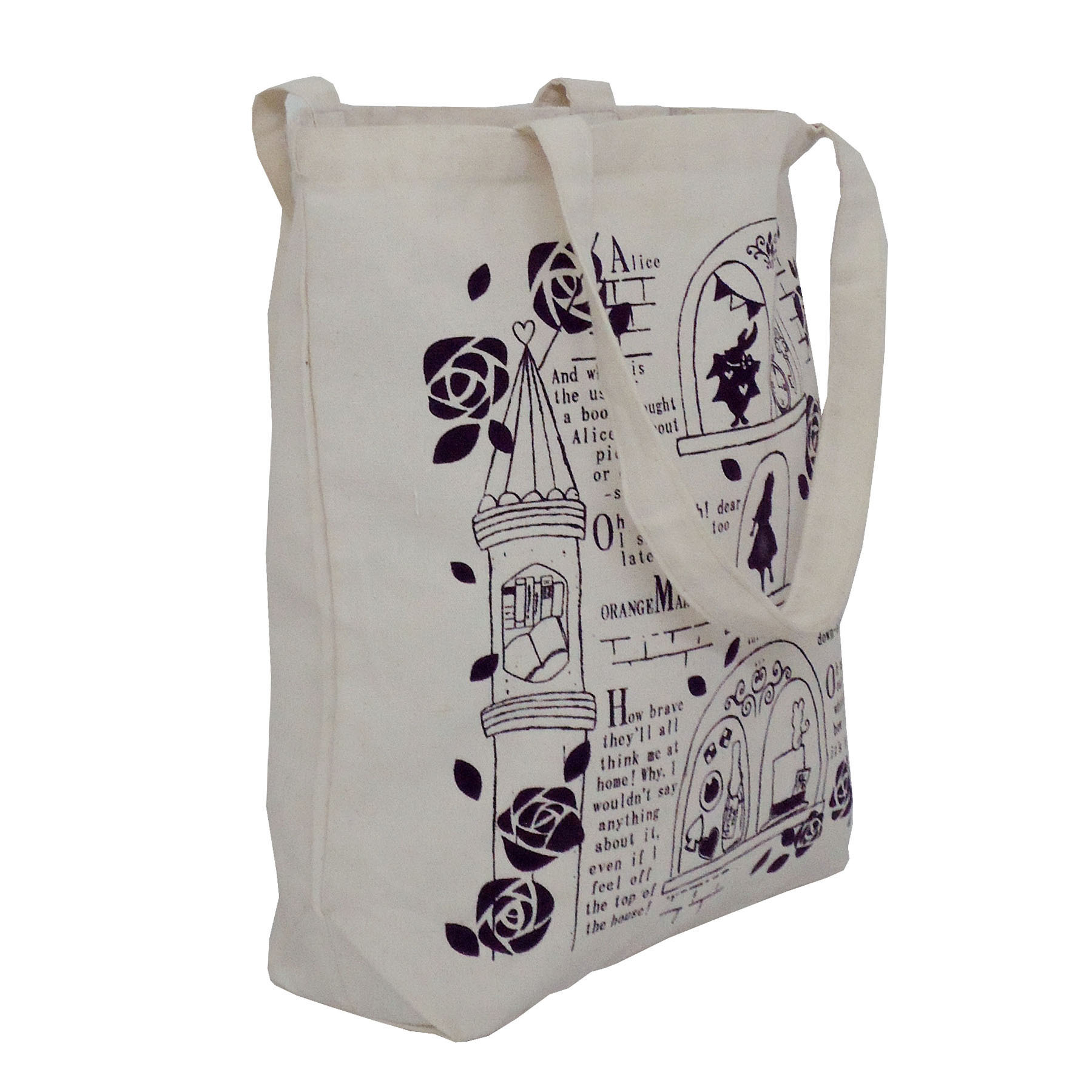 Natural Cotton Tote Bag With Inside Open Hanging Pocket