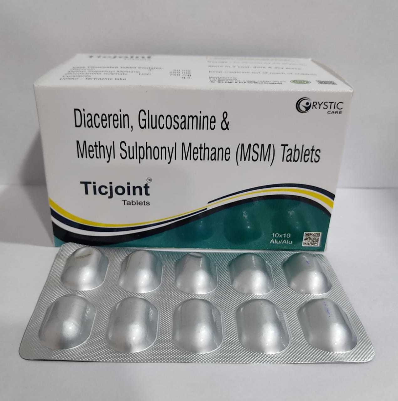 Diacerein Glucosamine & Methl Sulphonyl Methane MSM Tablet