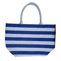 12 Oz Natural Canvas Striped Printed Tote Bag With Padded Handle